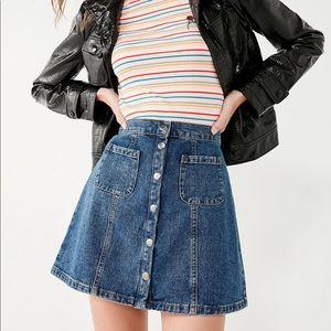 BDG Denim Button-Front Skirt A-Line